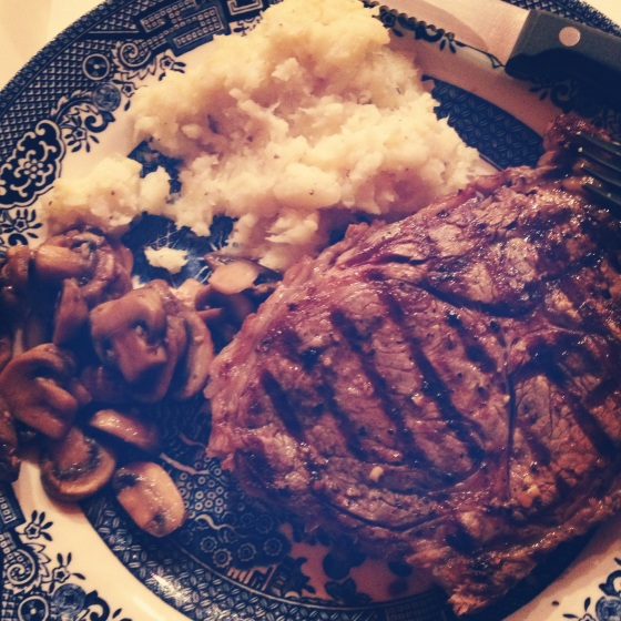 ribeye, mashed parsnips, sauteed mushrooms
