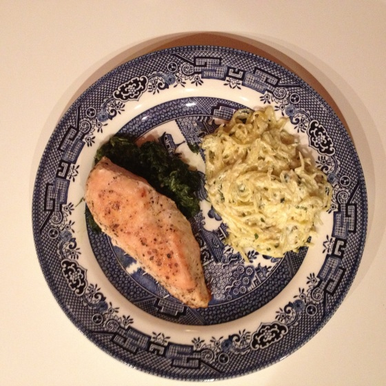 chicken breast, sauteed spinach, garlic and goat cheese spaghetti squash