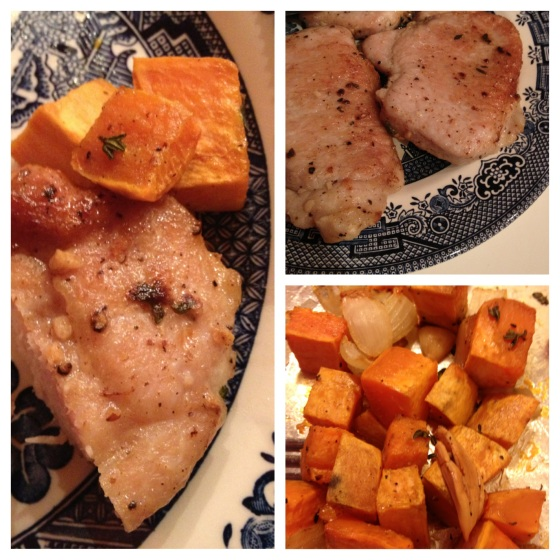 pork chops and roasted sweet potatoes, onions, and garlic - all with thyme