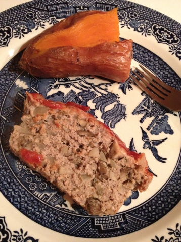 I ate three slices of the mushroom meatloaf and half a sweet potato.  Yum.